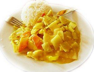 Kuřecí na kari, rýže
