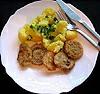 Smažené žampiony a vařené brambory
